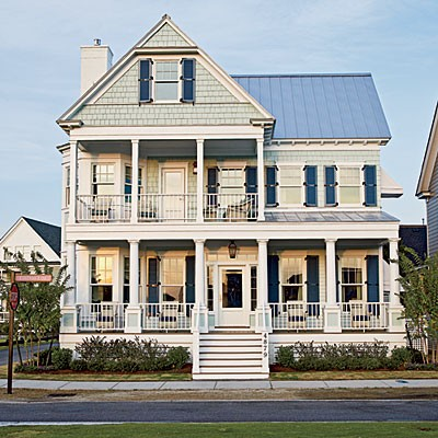 Beach cottage exterior architect steve mouzon norfolk va for Coastal living exterior paint colors